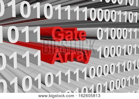 gate array in a binary code 3D illustration