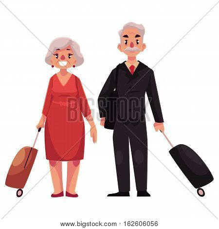 Old couple of man and woman with suitcases in airport, cartoon illustration isolated on white background. Full length portrait of old lady and gentleman, senior man and woman travelling together