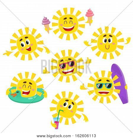 Set of happy sun characters with ice cream, drink, surfboard, sunglasses, cartoon vector illustration isolated on white background. Cute and funny sun characters, emoticons showing different emotions