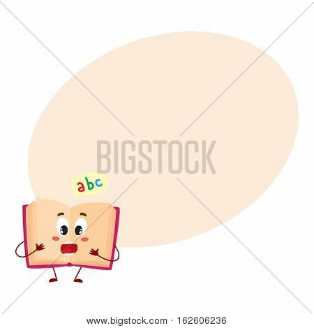 Funny open ABC book character with surprised face expression, cartoon vector illustration on background with place for text. Primary school abc textbook, shocked or surprised, school, education concept