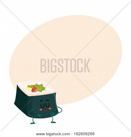 Japanese nori, seaweed roll character, cartoon vector illustration on background with place for text. Cute and funny smiling seaweed, nori roll filled with fish and vegetables, asian cuisine