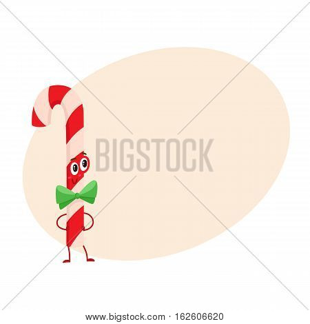 Christmas candy cane with green bow funny character, cartoon vector illustration on background with place for text. Traditional striped red and white Xmas candy cane cute and funny Christmas character