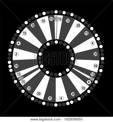 Wheel of Fortune, Game Jackpot on Black Background. Vector Illustration. EPS10