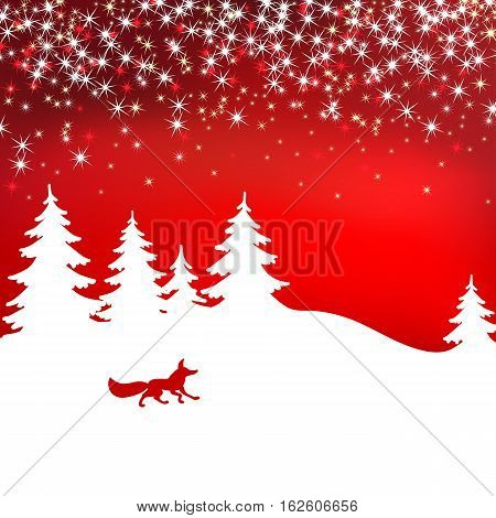 Christmas background. Winter landscape with fox. White fairy forest
