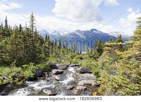 The stream from Upper Dewey Lake going down over 3000 feet (Alaska).