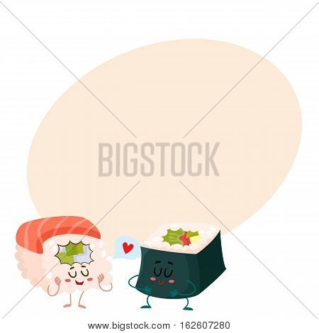 Japanese salmon, tuna sushi and nori, seaweed roll characters, cartoon vector illustration on background with place for text. Cute and funny smiling salmon, tuna and nori sushi, sashimi, roll