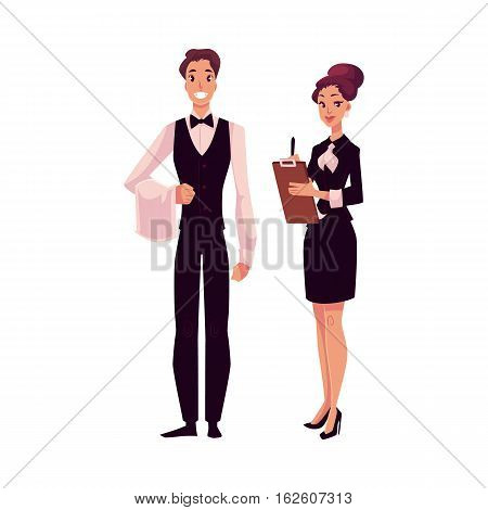Young restaurant, cafe manager and a waiter, cartoon vector illustration isolated on white background. Full length portrait of restaurant manager, hostess in little black dress and waiter in uniform poster
