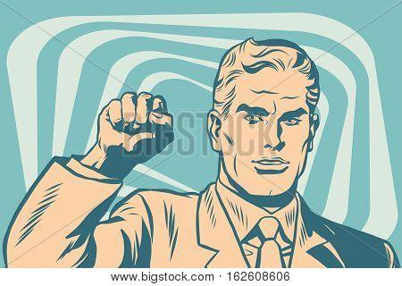 Politician protest solidarity gesture up fist activist pop art retro vector. Communist international