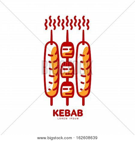 Stylized hot, freshly grilled Turkish kebab logo template, vector illustration isolated on white background. Creative two-colored kebab, logotype template, traditional Turkish fast food
