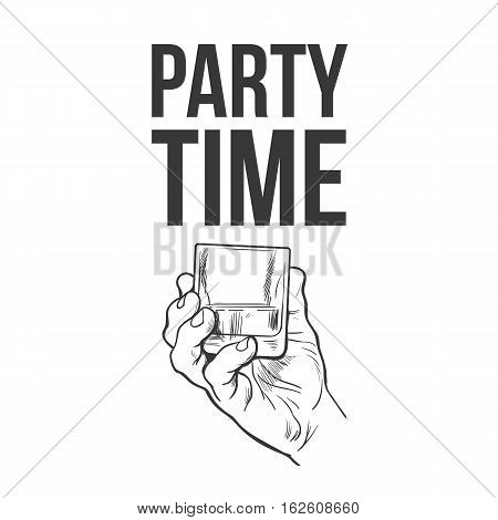 Hand holding full glass of whiskey, sketch style vector illustration isolated. Hand drawing black and white of male hand with shot of rum, whiskey, cognac, party time concept for posters, postcards
