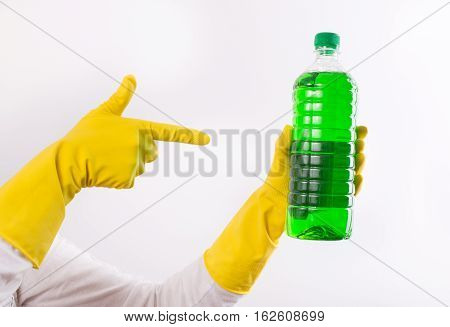 Index Finger Pointing On Cleaning Product