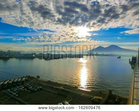 Panorama of Naples, view of the port in the Gulf of Naples and Mount Vesuvius. The province of Campania. Italy. View from cruise ship