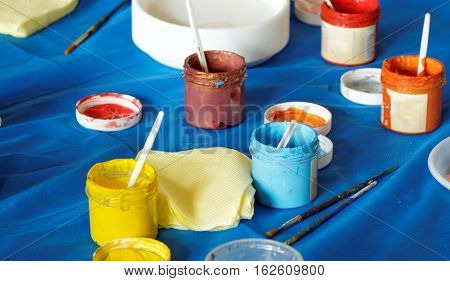 Improvised set of water-based paints brush for creativity
