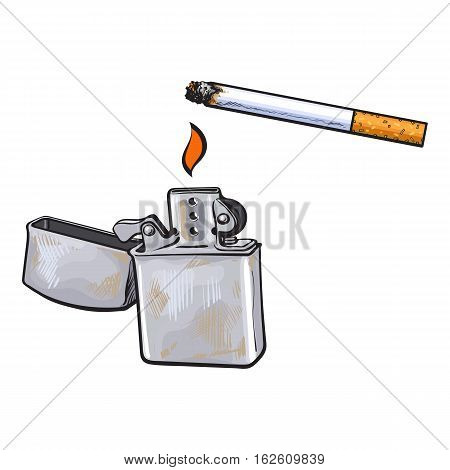 Silver metal lighter and burning cigarette, sketch vector illustration isolated on white background. Realistic hand-drawing of silver colored metal lighter used to lit a cigarette