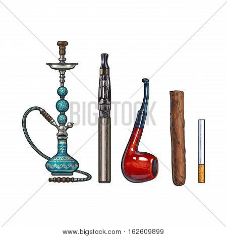 Smoking accessories - hookah, cigarettes, cigar and pipe, sketch vector illustration isolated on white background. Hand drawn smoking attributes such as hookah, electronic cigarette, cigar and pipe