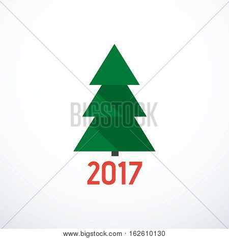 Happy New Year 2017. Vector fir-tree icon.