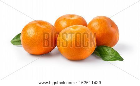 Ripe Mandarin With Leaves Close-up On A White Background.