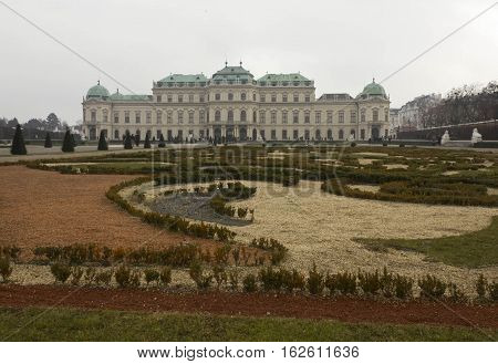 VIENNA, AUSTRIA - JANUARY 1 2016: Backside of Schloss Belvedere building in Vienna in a winter foggy day