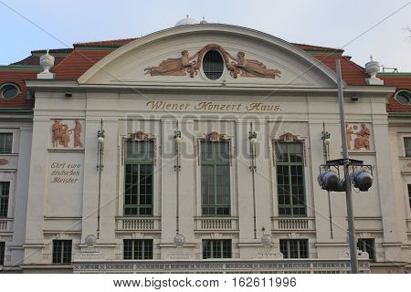VIENNA, AUSTRIA - JANUARY 1 2016: Facade of Vienna Concert House building at day time