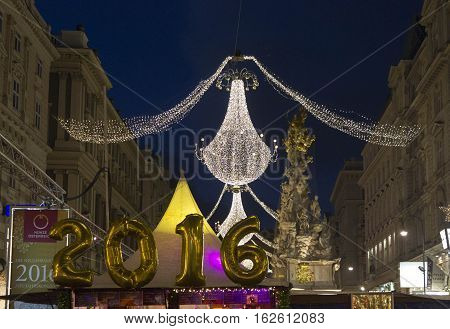 VIENNA, AUSTRIA - JANUARY 1 2016: Graben street in Vienna at night time during the holidays for the New Year Eve 2016