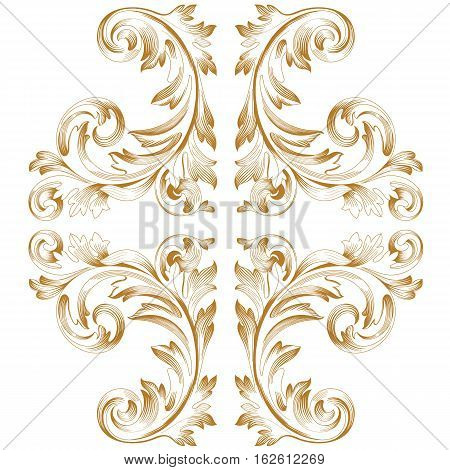 Golden vintage ornament pattern, border ornament pattern, engraving ornament pattern, ornament ornament pattern, pattern ornament, antique ornament pattern, baroque ornament pattern, decorative ornament pattern. Vector.