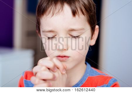 Little Boy Praying. Boy's Prayer.