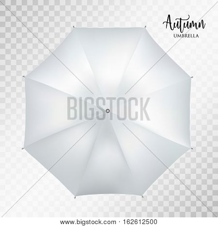 Vector classic grey round Rain umbrella top view Blank Opened Parasol Sunshade Mock up on light grey transparent Background. Top Side View graphic Element for advertising, poster, banner print design