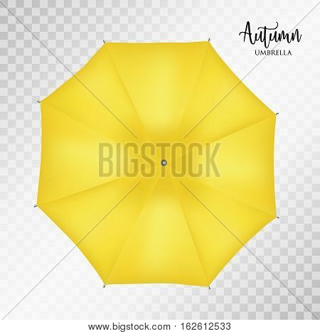 Vector classic yellow round Rain umbrella top view Blank Opened Parasol Sunshade Mock up on light grey transparent Background. Top Side View graphic Element for advertising, poster banner print design
