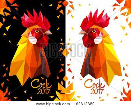 Bright postcard with a head rooster on white and black background. Red fiery cock symbol of New Year 2017. Polygonal Geometric Triangle style. Vector illustration