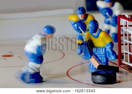 the hockey table game goalie macro shot