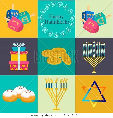 Hanukkah traditional symbols jewish icons set isolated vector. Various jewish symbols and items hanukkah celebration flat icons set isolated vector. Jewish icons traditional religious holiday.