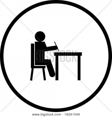Schüler schreiben in ein Schreibtisch-symbol