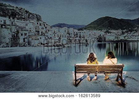 Unrecognizable couple on a bench with view on habour and old houses in Cefalu at night, Sicily. Beautiful townscape of old italian town. Modern painting style texture. Travel illustration.