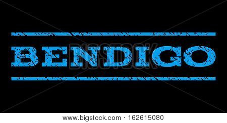 Bendigo watermark stamp. Text caption between horizontal parallel lines with grunge design style. Rubber seal stamp with unclean texture. Vector blue color ink imprint on a black background.