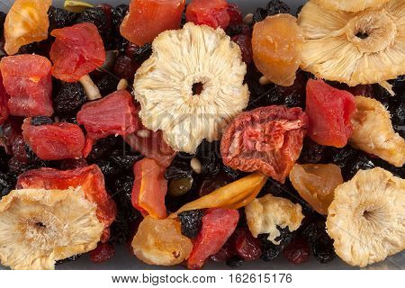 Dried fruits background in studio top view