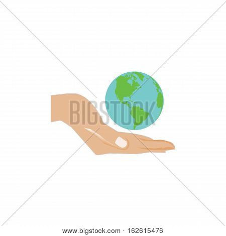 Hand holding planet Earth. Ideal for informational and institutional.Isolated over white background.