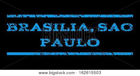 Brasilia, Sao Paulo watermark stamp. Text caption between horizontal parallel lines with grunge design style. Rubber seal stamp with dirty texture. Vector blue color ink imprint on a black background.