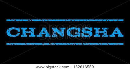 Changsha watermark stamp. Text tag between horizontal parallel lines with grunge design style. Rubber seal stamp with dirty texture. Vector blue color ink imprint on a black background.