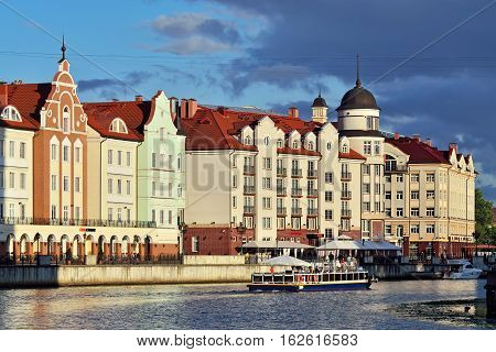 KALININGRAD, RUSSIA - June 11, 2016: Fishing Village on a summer evening. Tourist attraction, a favorite place of rest of the townspeople and visitors of the city