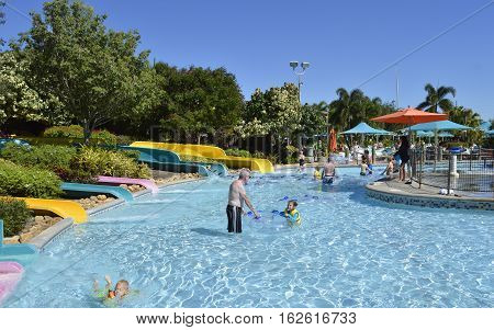 Aquatica water park Orlando Florida USA - October 23 2016: Tourists in Kata's Kookaburra Cove adventure play area in Aquatica water park