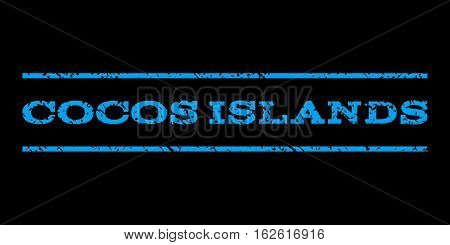 Cocos Islands watermark stamp. Text caption between horizontal parallel lines with grunge design style. Rubber seal stamp with dirty texture. Vector blue color ink imprint on a black background.