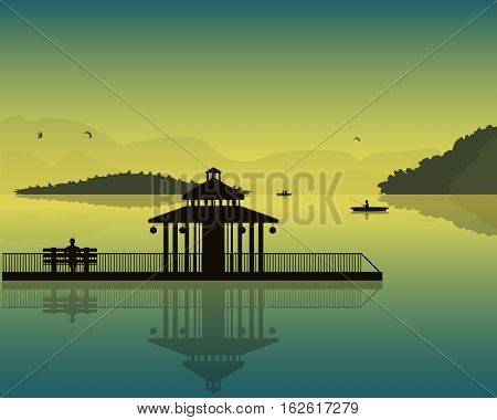 landscape which depicts the pond sky silhouettes of boats and fishermen alcove and the bench at sunset