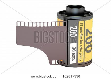 35 mm camera film 3D rendering isolated on white background