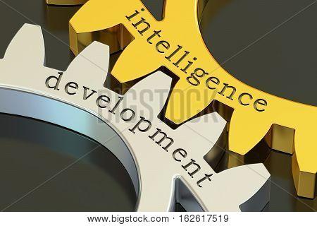intelligence development concept on the gearwheels 3D rendering