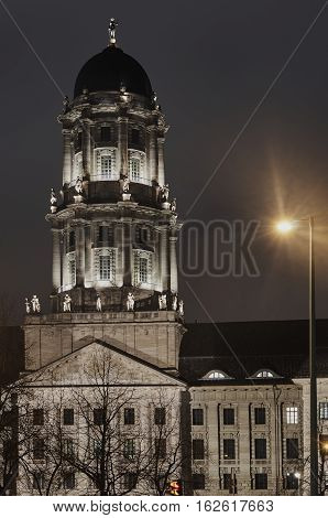 Neoclassicism tower at night in Berlin in Germany
