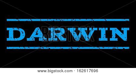 Darwin watermark stamp. Text caption between horizontal parallel lines with grunge design style. Rubber seal stamp with unclean texture. Vector blue color ink imprint on a black background.