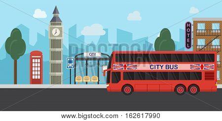 London, United Kingdom, Big Ben tower flat design travel concept city life