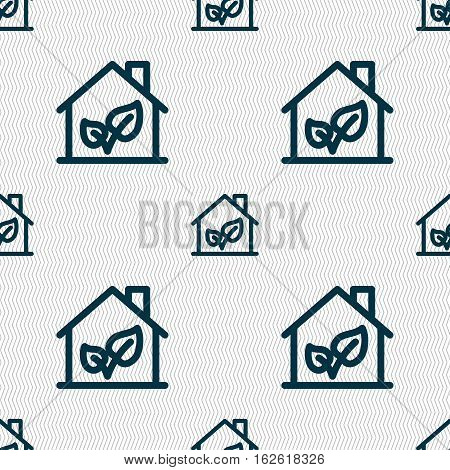 Bio Houses Icon Sign. Seamless Pattern With Geometric Texture. Vector