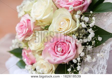 Flower decoration for a wedding up view