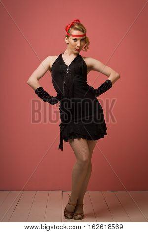 Pretty Actress In Black Retro Dress Dancing Charleston